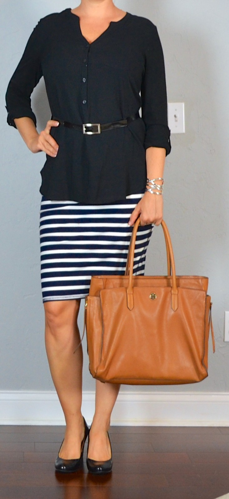 Orange and brown clothing ideas with business casual, pencil skirt, dress shirt, leather