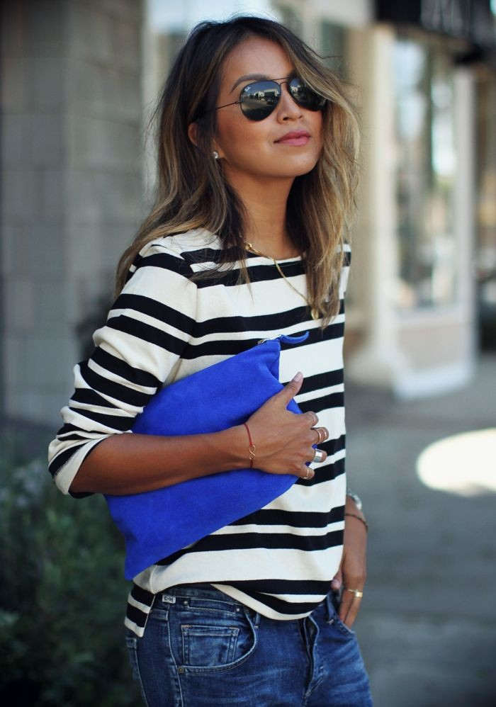 Black and white striped shirt for women