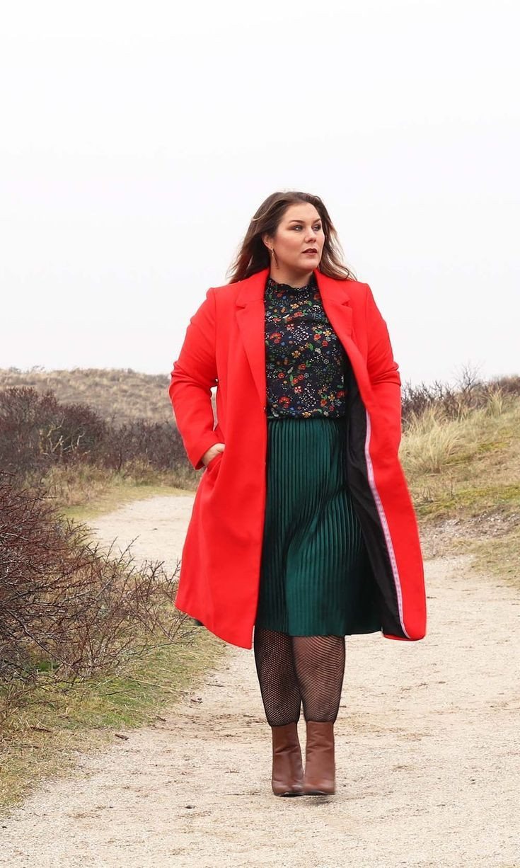 Turquoise and orange outfit Pinterest with overcoat, skirt, jeans