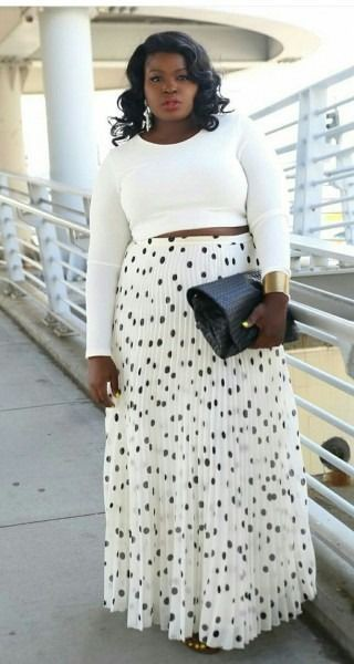 Plus size maxi skirt and crop top