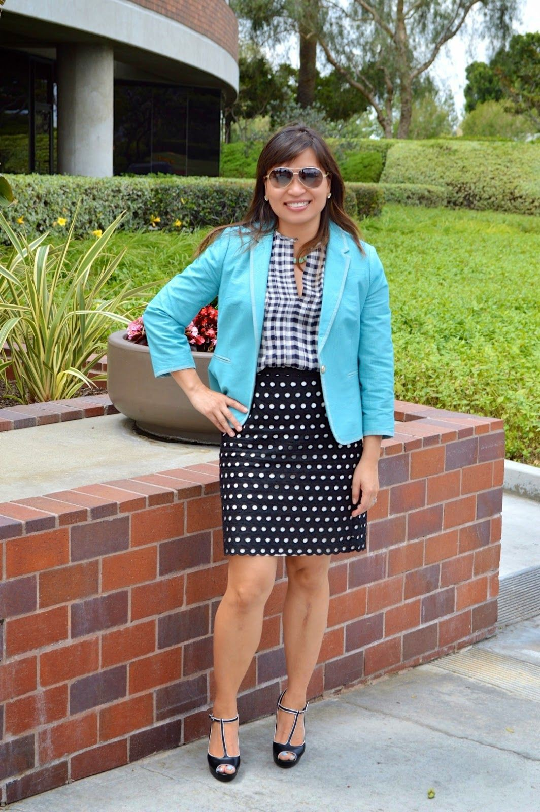 Turquoise and blue outfit ideas with miniskirt, polka dot, tartan