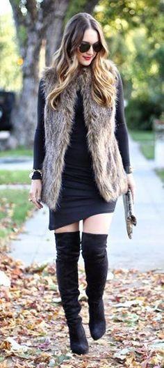 Faux fur vest with dress