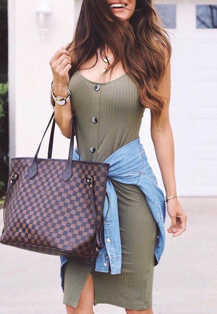 Brown fashion collection with dress handbag, bag