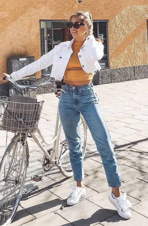 White style outfit with mom jeans, trousers, jeans