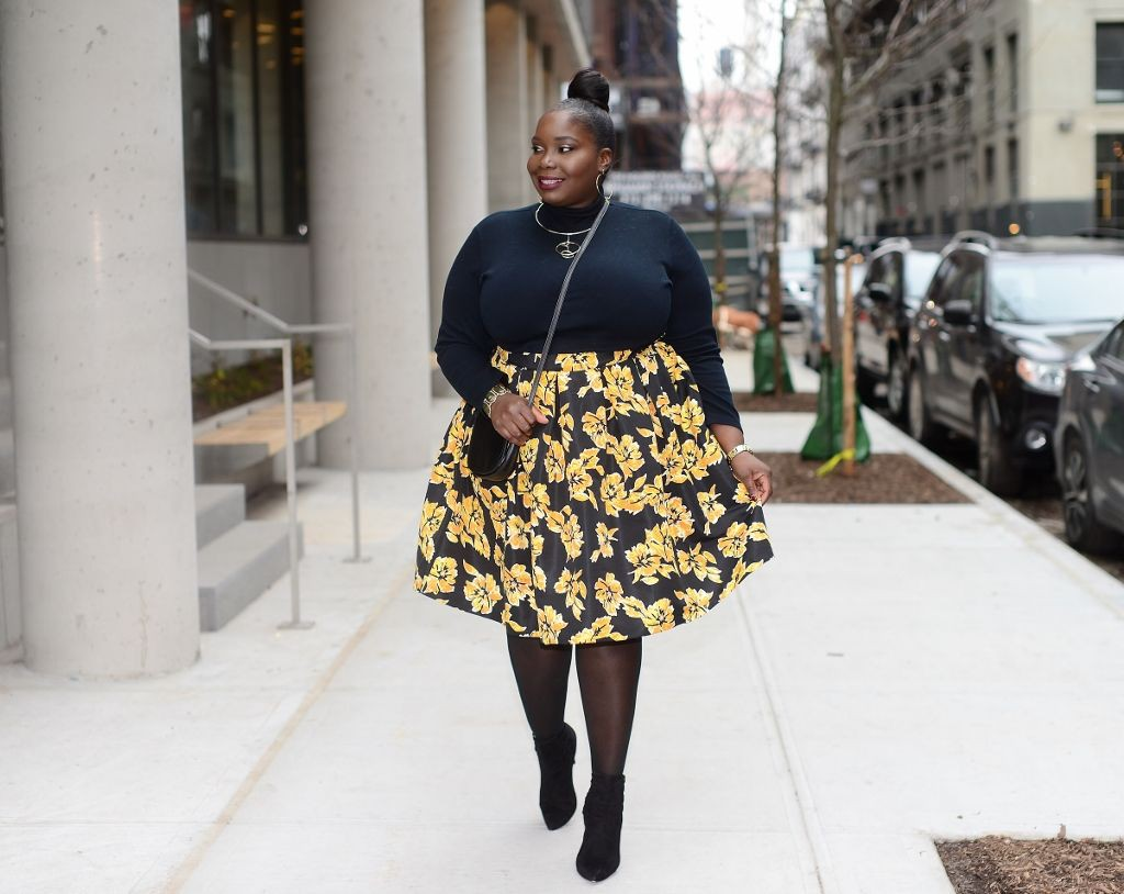 Yellow and black colour dress with denim, jeans, skirt