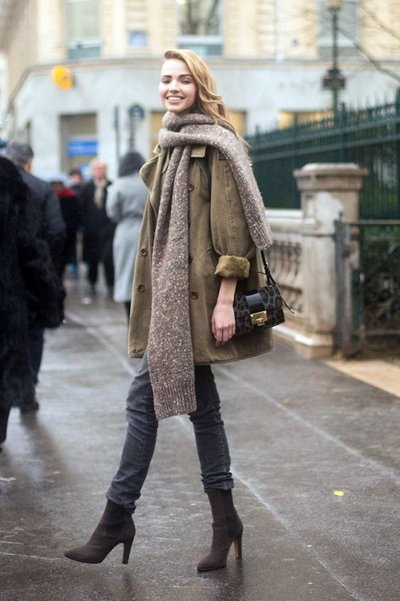 Street style parka kaki, street fashion, fur clothing, trench coat, sasha luss