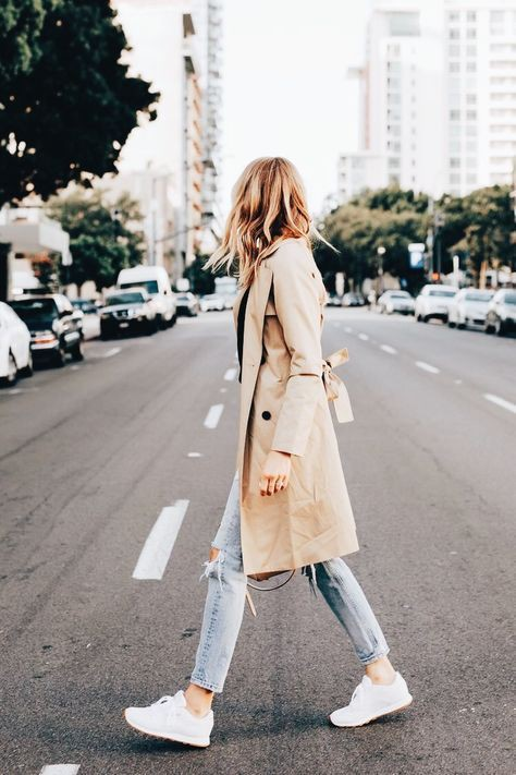White and pink classy outfit with dress trench coat, jeans, skirt