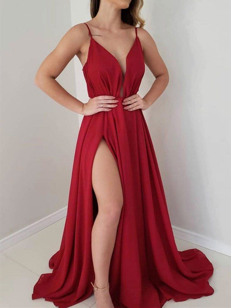Floor length elegant red prom dress