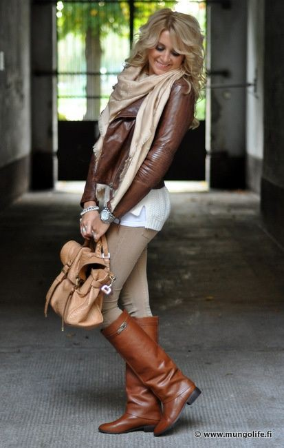 Brown leather jacket winter outfit