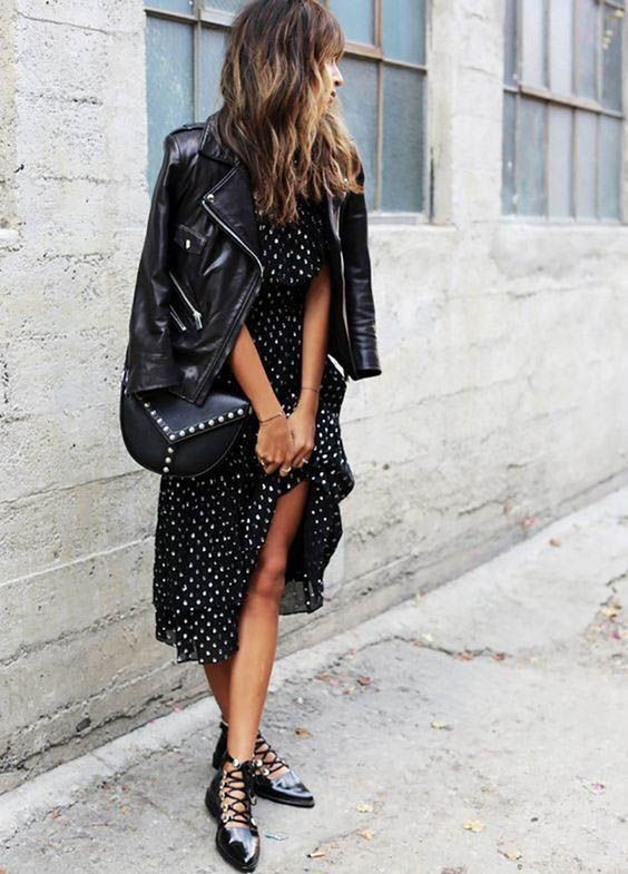 Black trendy clothing ideas with leather dress, leather jacket, street fashion