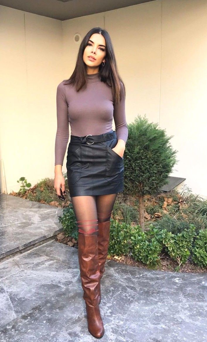 Brown and black colour ideas with miniskirt, trousers, leather