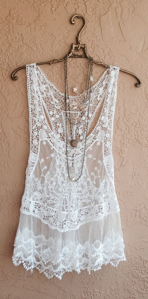 White lace tank top, sleeveless shirt, cocktail dress, wedding dress, boho chic, day dress