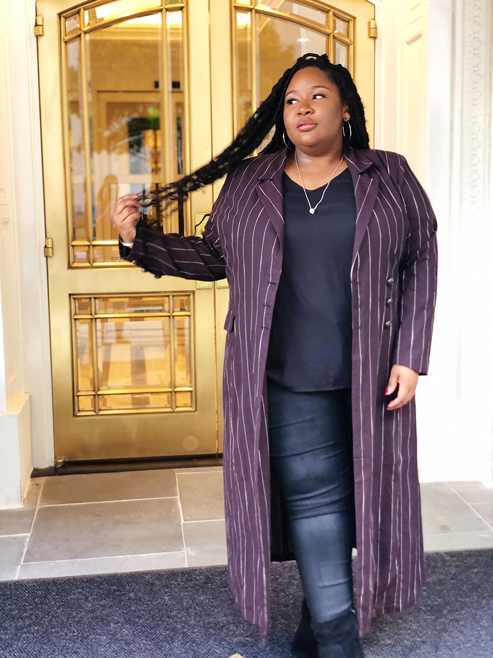 Purple outfit Stylevore with formal wear, jeans, denim