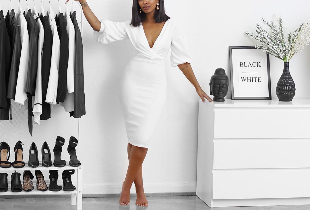 White colour outfit, you must try with little black dress, sheath dress
