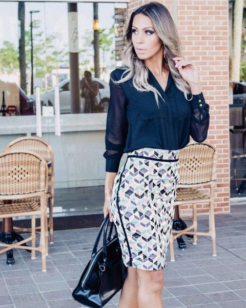 Black and white outfit ideas with pencil skirt, blouse, skirt