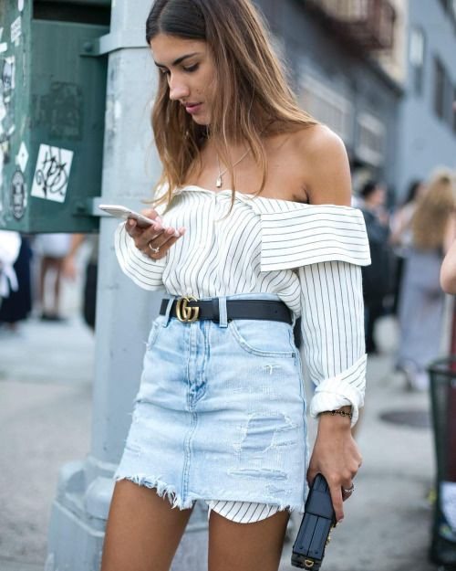 White fashion collection with denim skirt, jean short, shorts