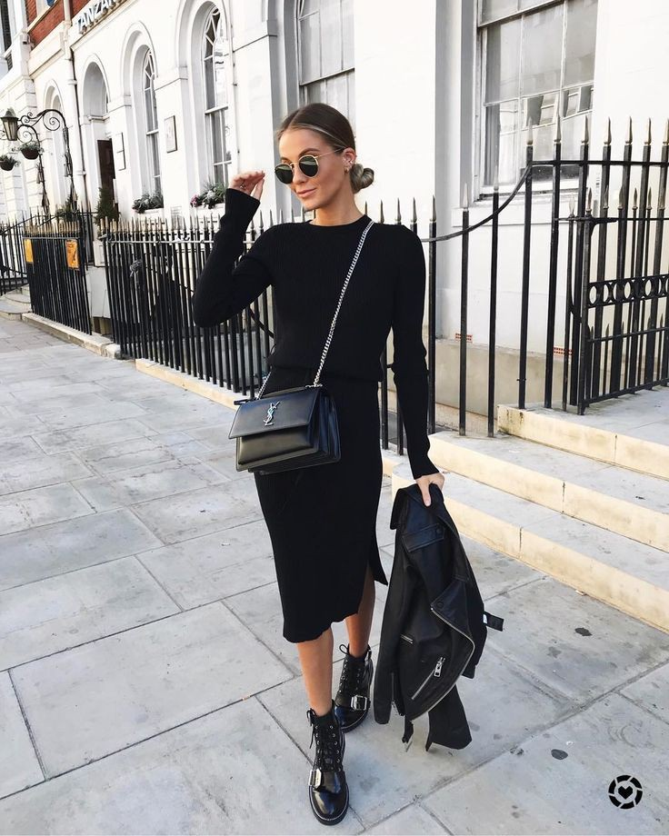 Black trendy clothing ideas with leather little black dress, dress shoe, boot