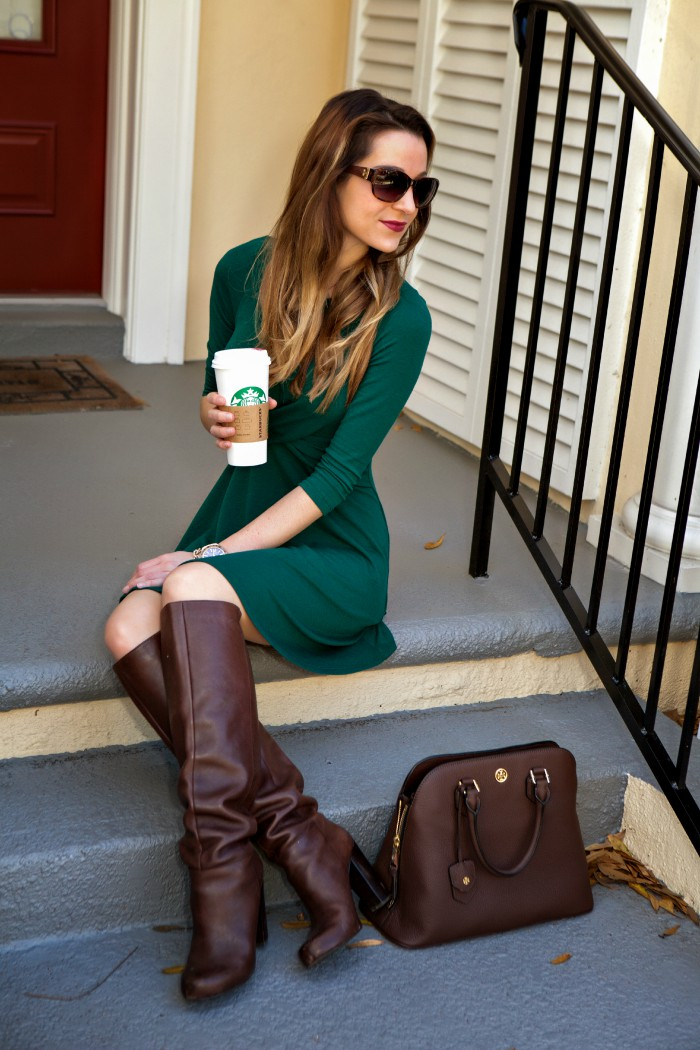 Green dress and brown boots