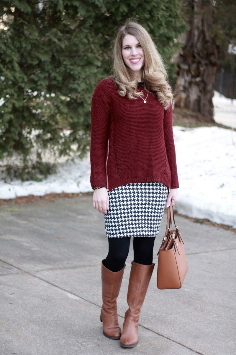 Houndstooth skirt with brown boots