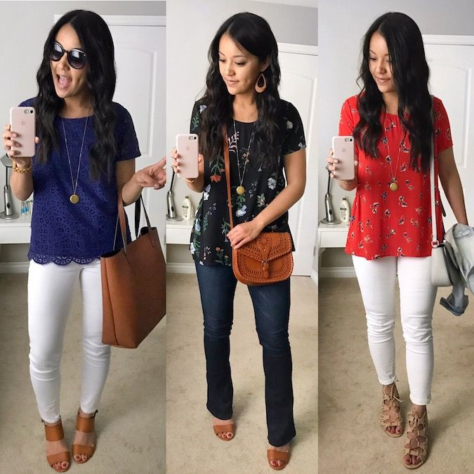 Floral print top outfit, casual wear