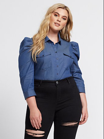Womens puff sleeve tops plus size