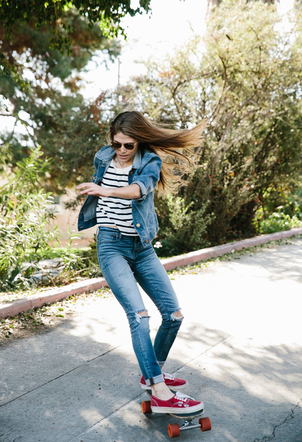 Jeans jacket girl with sneakers