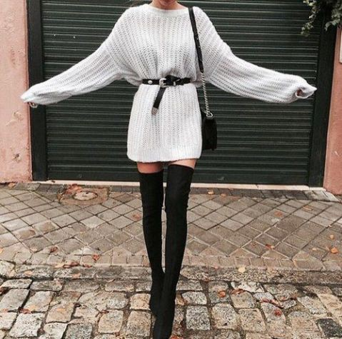 Dress up for winter thigh high boots, winter clothing
