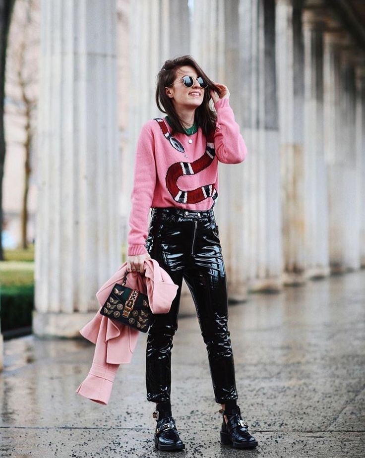 Pink colour outfit with leather jacket, mom jeans, trousers