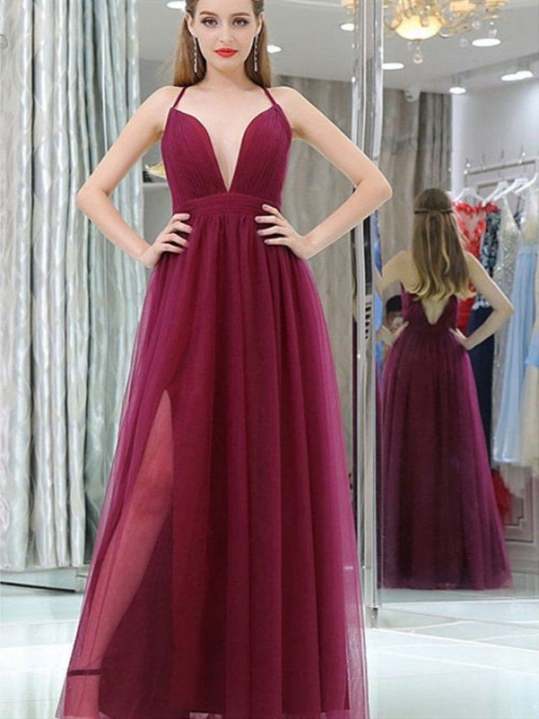 Tulle prom dress double slit