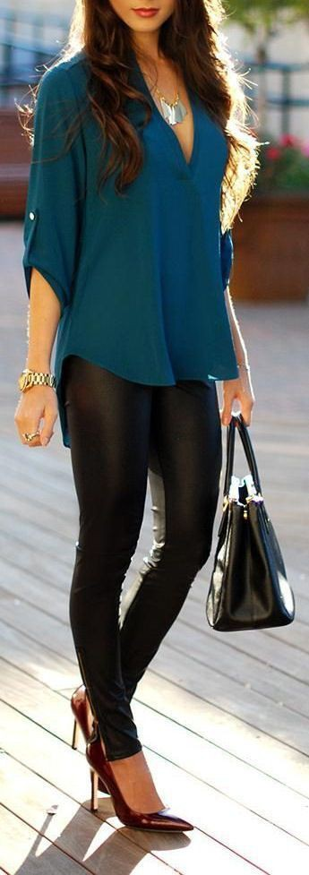 Outfit ideas black leather pants