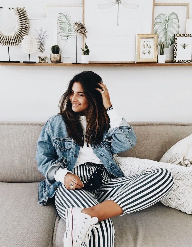 Black and white striped pants outfit ideas