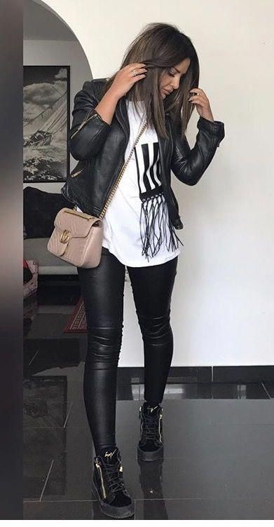 black matching ideas for girls with leather leather jacket, leggings, leather
