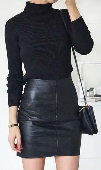 Colour dress leather skirt outfit, leather skirt, pencil skirt, polo neck