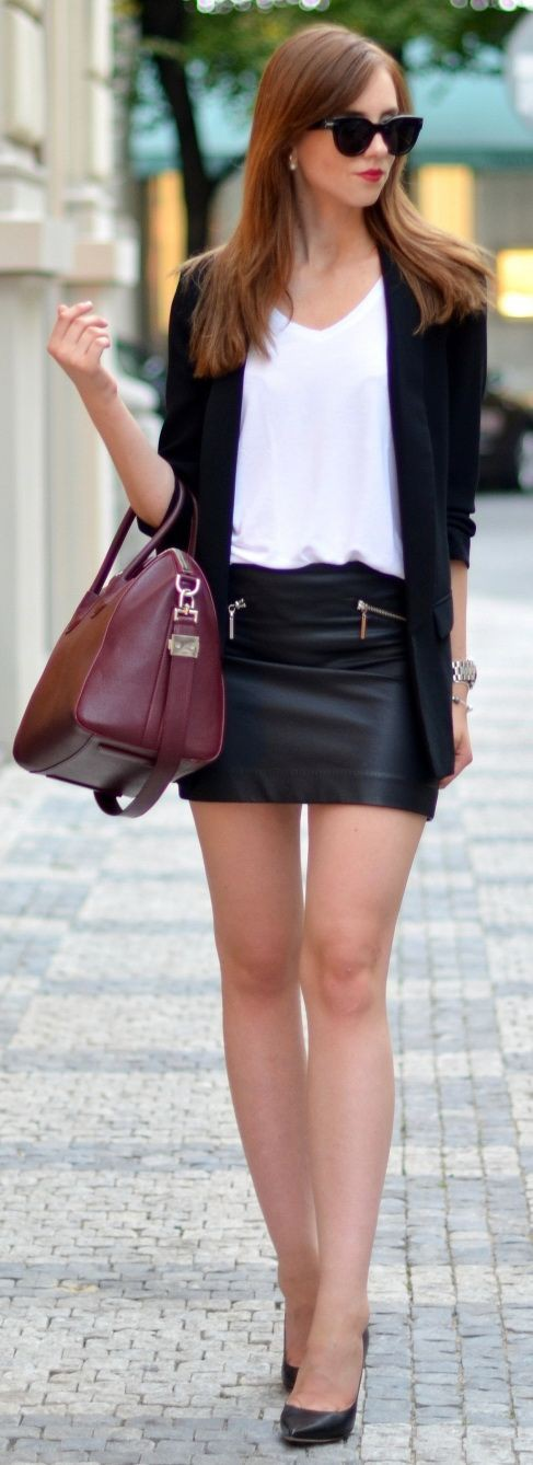 Brown and black outfit ideas with leather skirt, miniskirt, blazer
