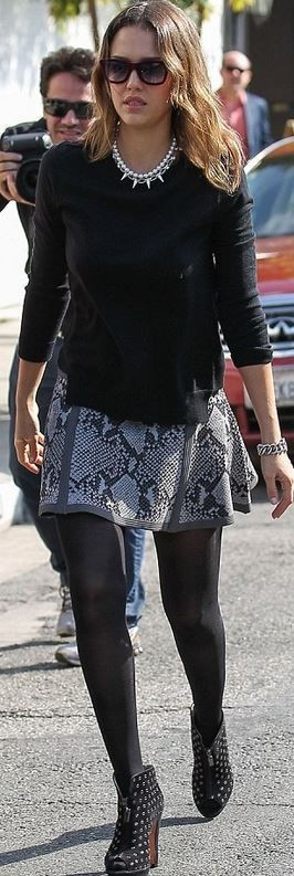 White and black style outfit with miniskirt, trousers, leggings
