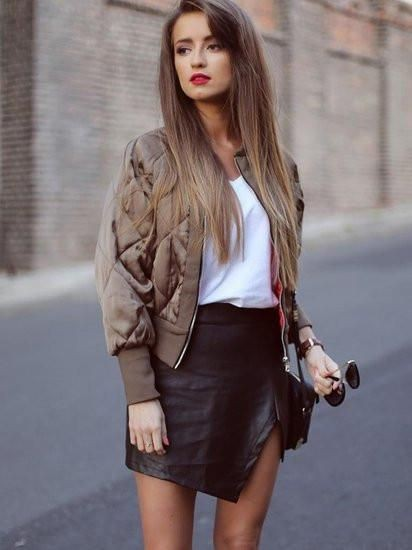 Dinner outfits leather skirt, artificial leather, street fashion, leather skirt, fashion model,  ...