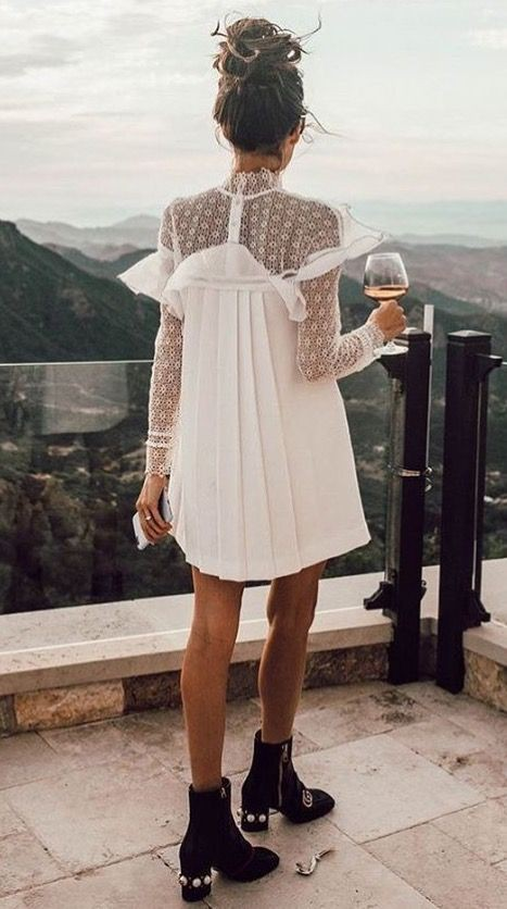 White colour outfit with cocktail dress, dress boot, shoe