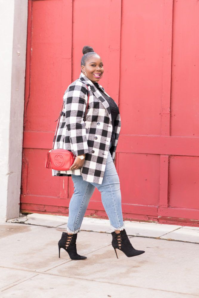 Red outfit ideas with tartan, denim, jeans