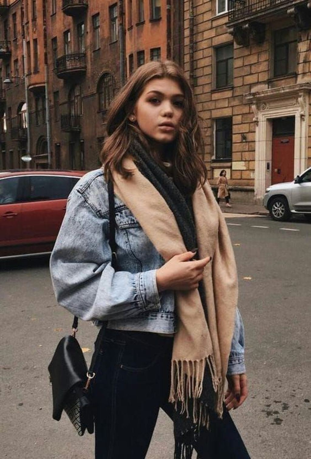 Beige colour ideas with jean jacket, jacket, jeans