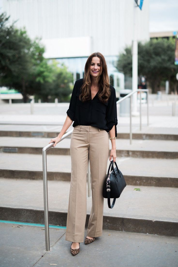 Women wearing khaki pants, business casual, street fashion, casual wear