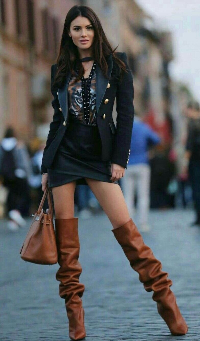 Outfit ideas with miniskirt, leather