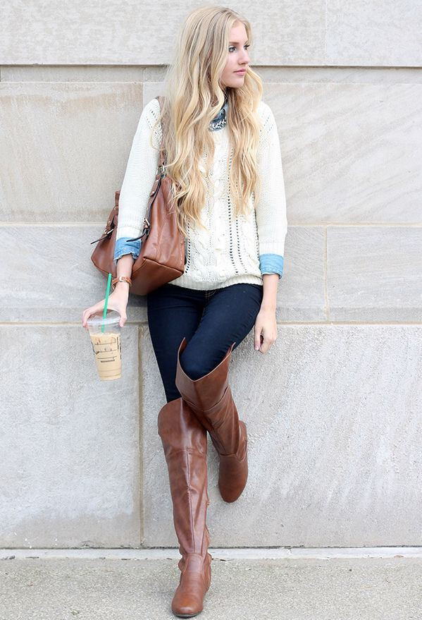 Turquoise and brown clothing ideas with leggings, trousers, blazer