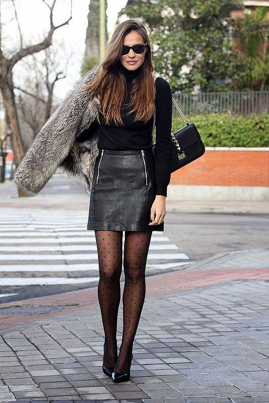 Leather skirt outfit winter, street fashion, leather skirt, casual wear
