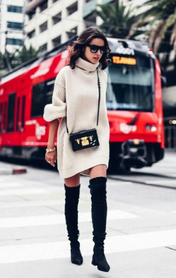 Style outfit look cuissardes robe thigh high boots, street fashion