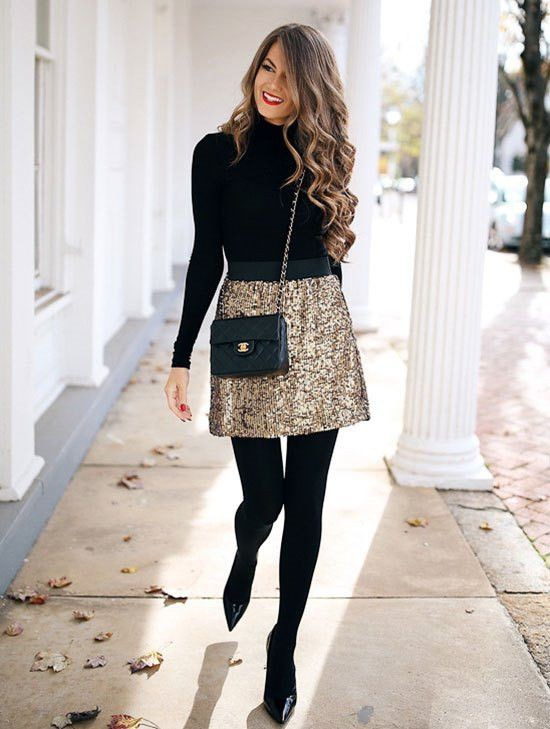 White and black style outfit with dress pencil skirt, tights, skirt