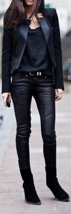 Colour outfit, you must try black concert outfit, leather jacket