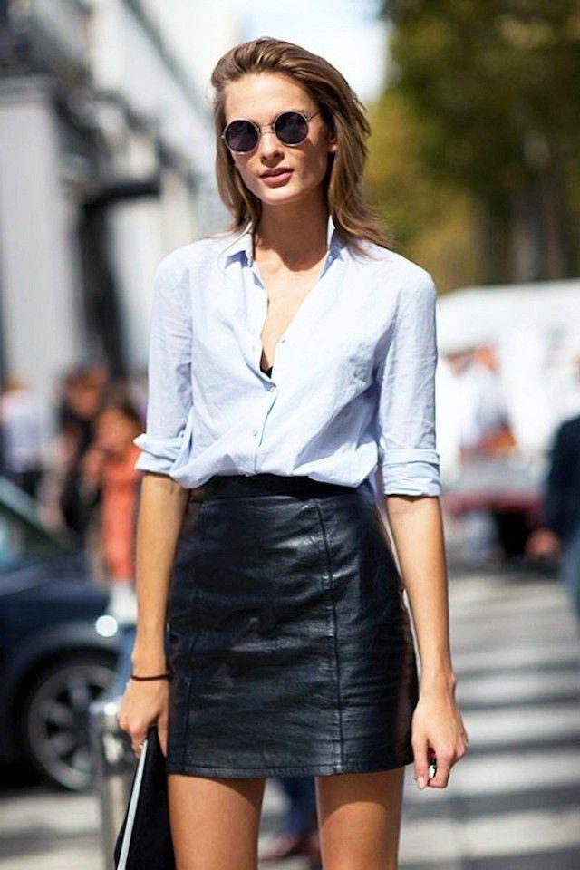 Leather skirt with shirt, street fashion, leather skirt, fashion model, dress shirt, a line