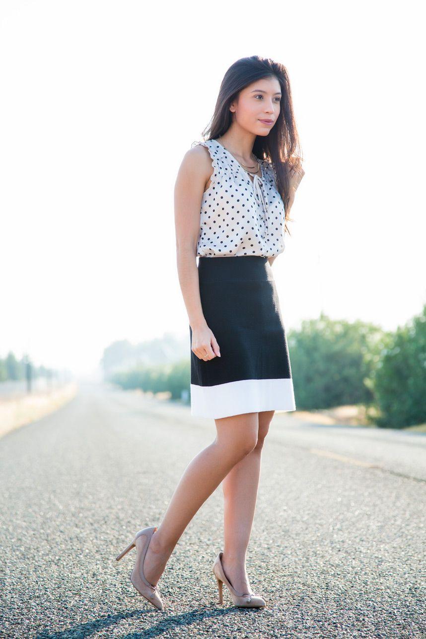 Woman wearing polka dots, street fashion, pencil skirt, polka dot, crop top, t shirt