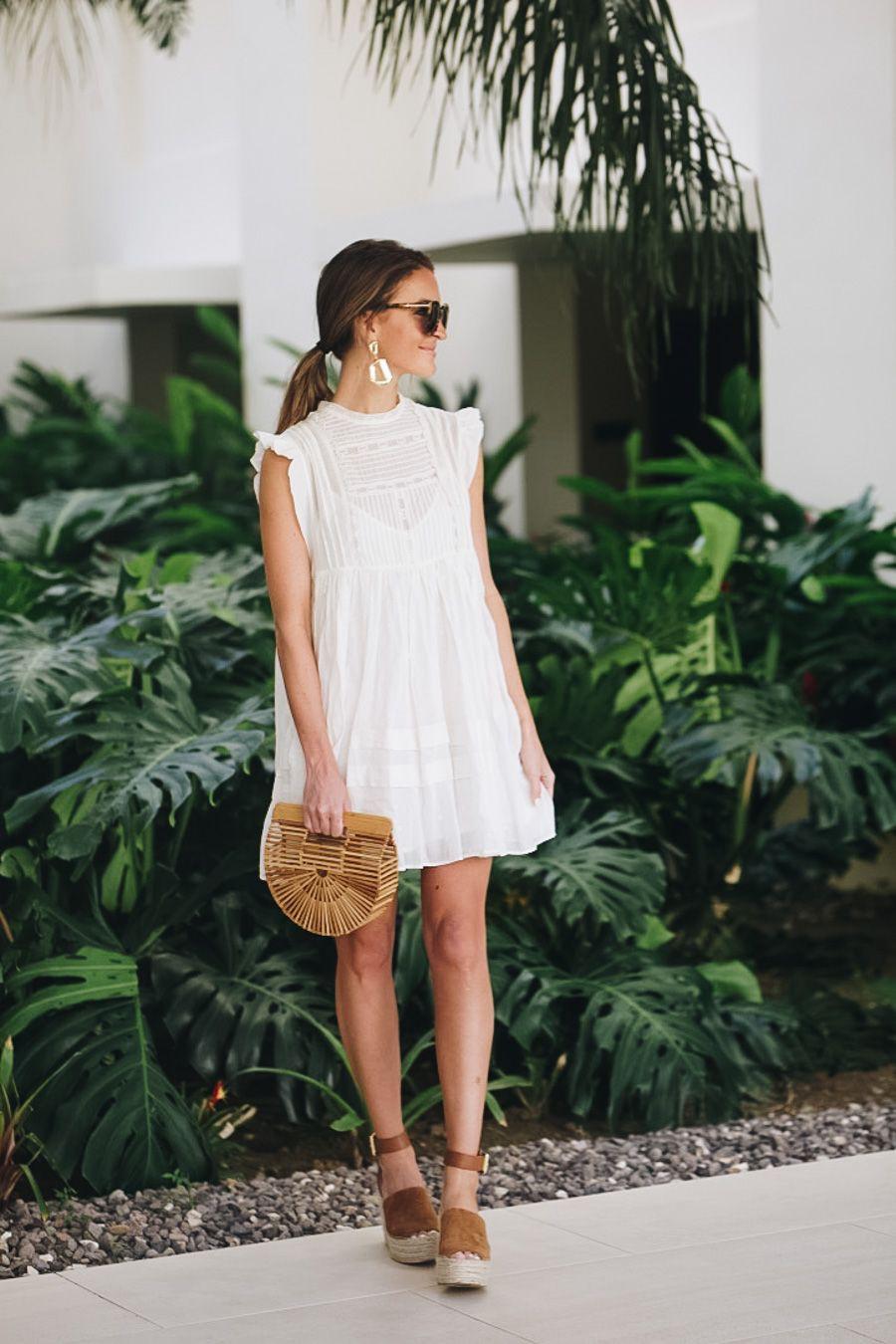 Little white dress outfit, cocktail dress, wedding dress, fashion model