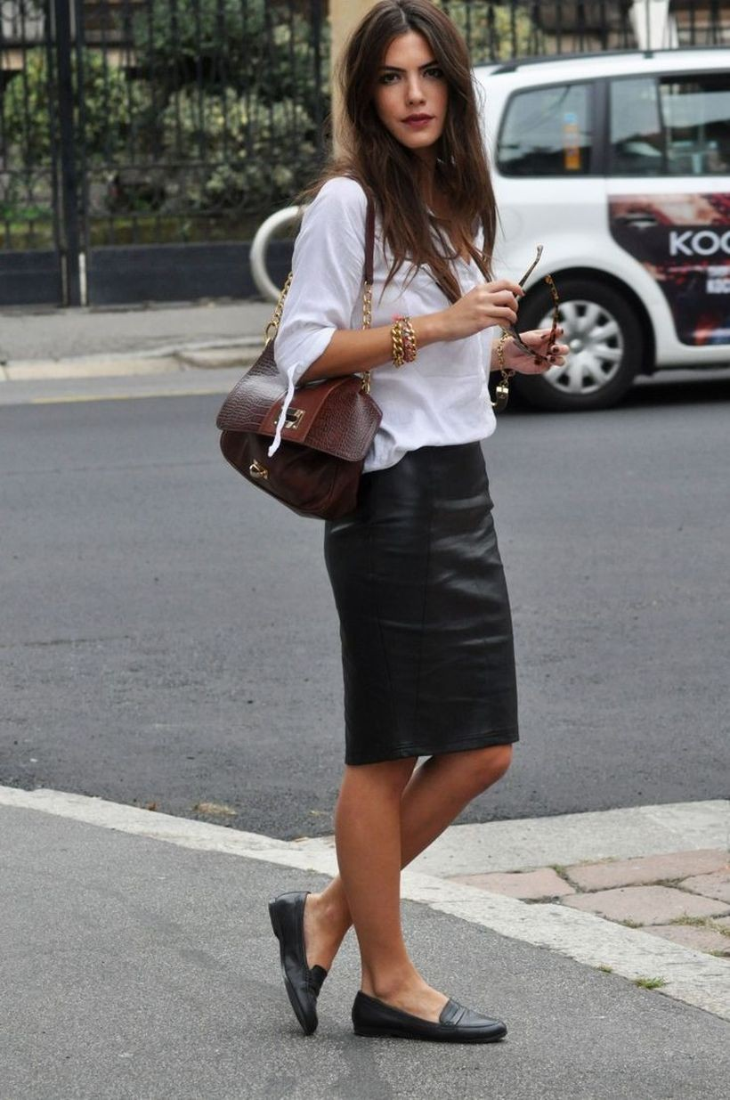 Loafers with pencil skirt, street fashion, pencil skirt, casual wear, t shirt